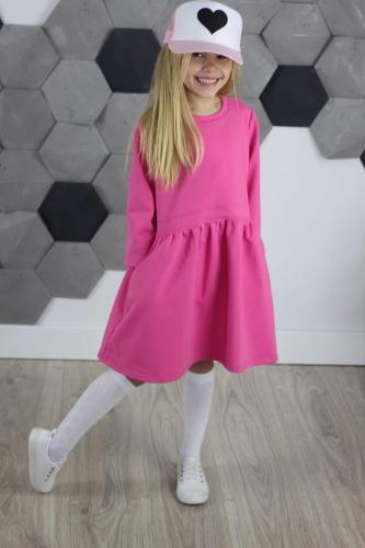 57b6d3d27b Sukienka Oversize z KIESZENIAMI RÓŻOWA S101
